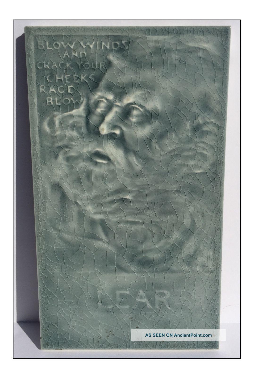 C1885 J.  G & J.  F.  Low Aesthetic Movement King Lear Portrait Tile Tiles photo