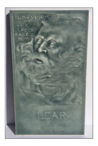 C1885 J.  G & J.  F.  Low Aesthetic Movement King Lear Portrait Tile photo