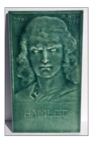 C1885 J.  G & J.  F.  Low Aesthetic Movement Hamlet Portrait Tile photo