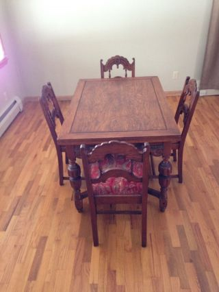 Antique Oak Wood Dining Table With 2 Pull Out Leafs And 4 Chairs photo