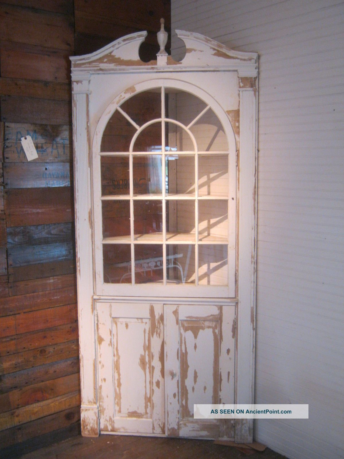 Antique Vintage Built In Corner Cabinet China Cupboard 1940 ' S Chippy White Paint 1900-1950 photo