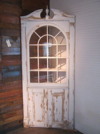 Antique Vintage Built In Corner Cabinet China Cupboard 1940 ' S Chippy White Paint photo