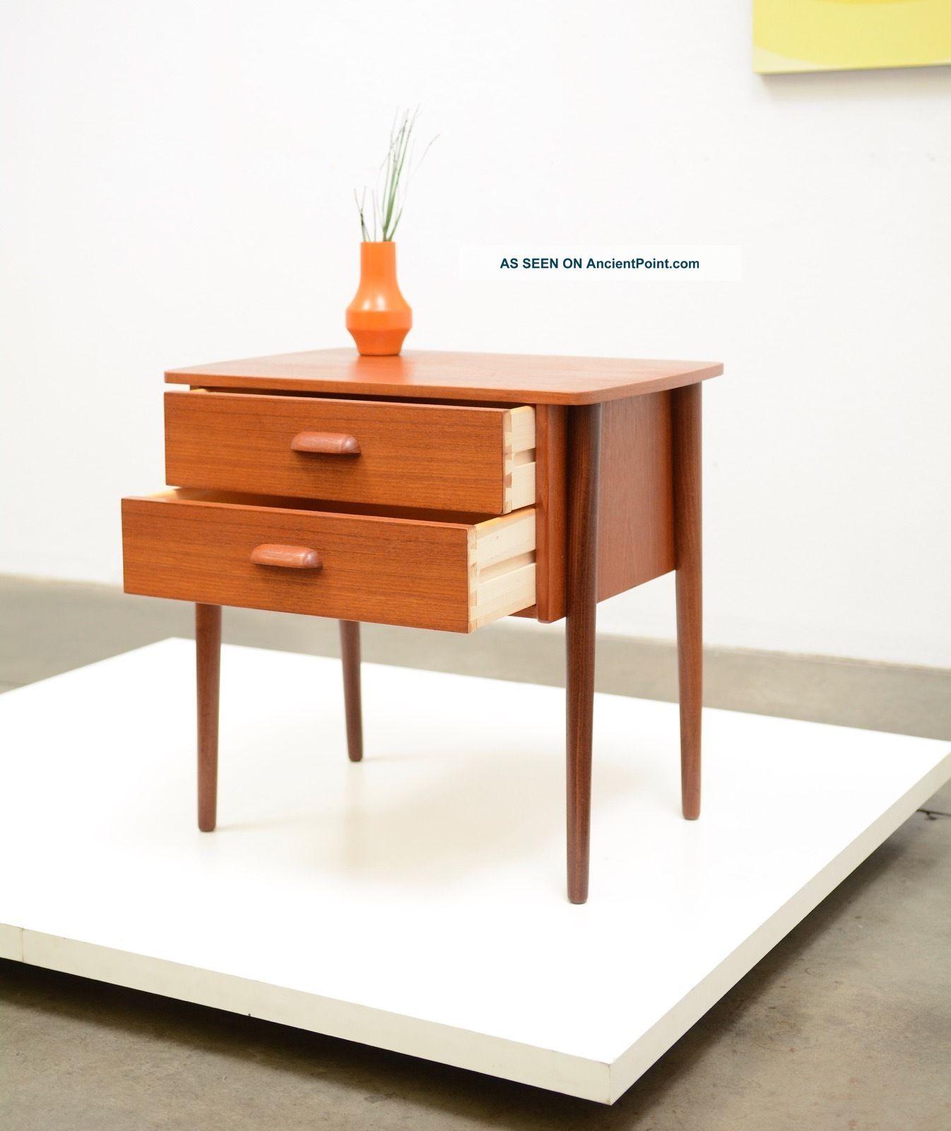 1960s Danish Modern Gunni Omann Teak Nightstand Side Table Mid Century Vintage Post-1950 photo