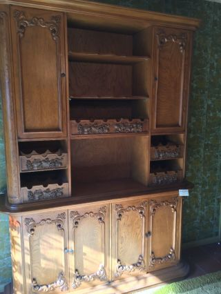 Vintage Oak French Country Hutch photo