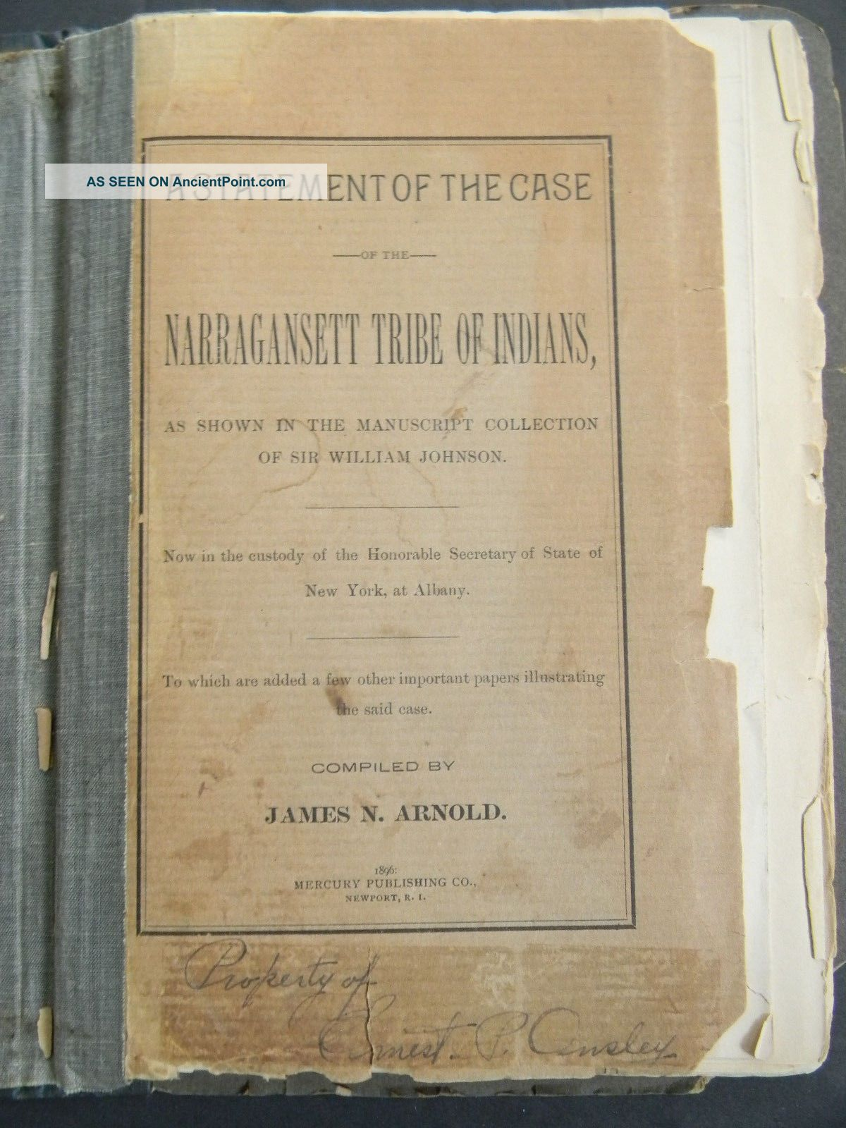 C1896 - Case Of The Narragansett Tribe Of Indians By James N.  Arnold Native American photo