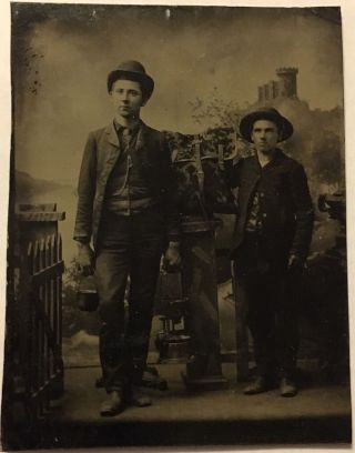 Tintype Miners Mining Gold Silver Prospectors Tinsmith Smelting Furnace Pot photo