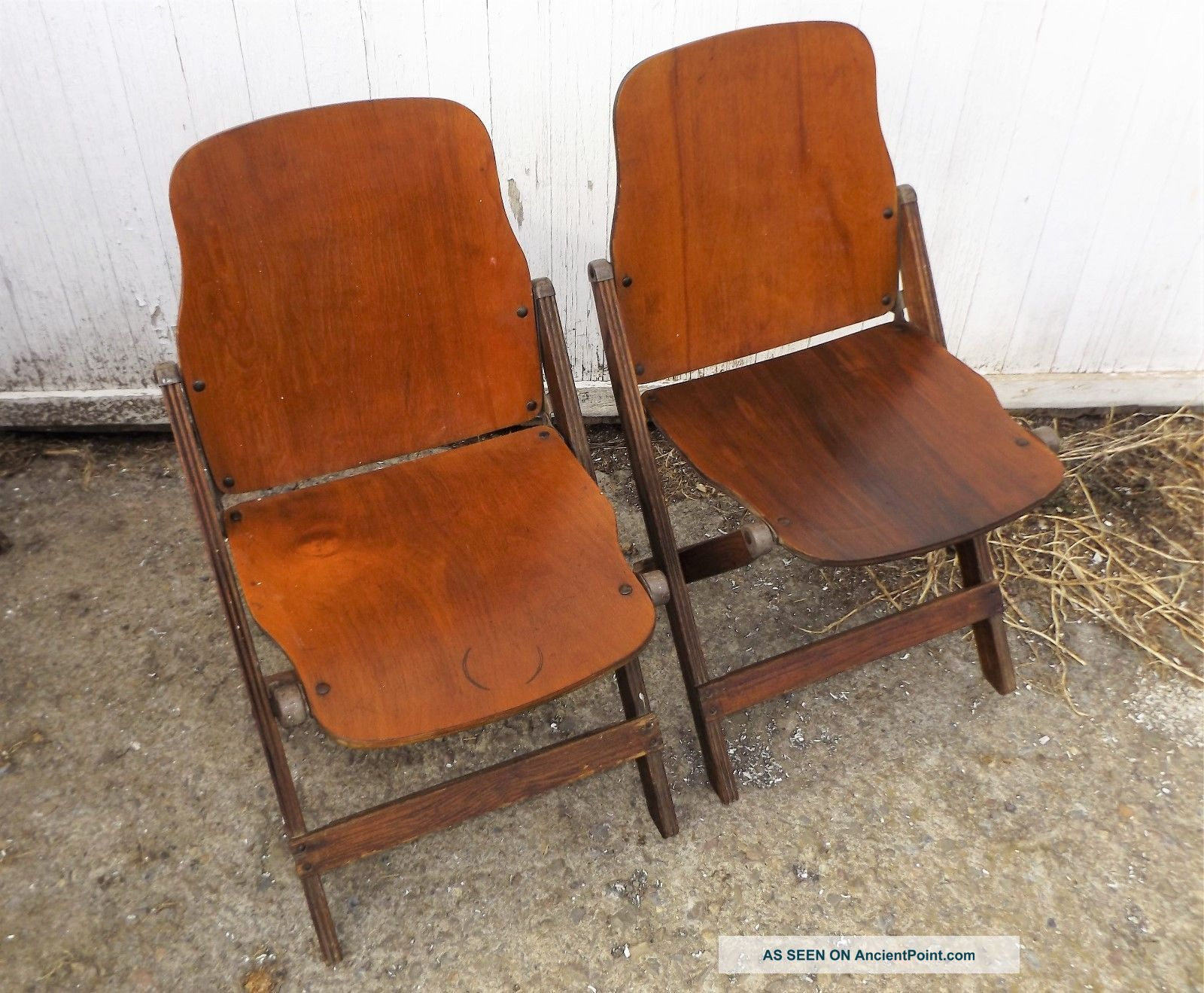 Pair Vintage American Seating Wood Folding Chairs,  Made In Grand Rapids Mi 1900-1950 photo