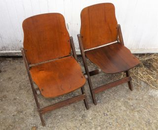 Pair Vintage American Seating Wood Folding Chairs,  Made In Grand Rapids Mi photo