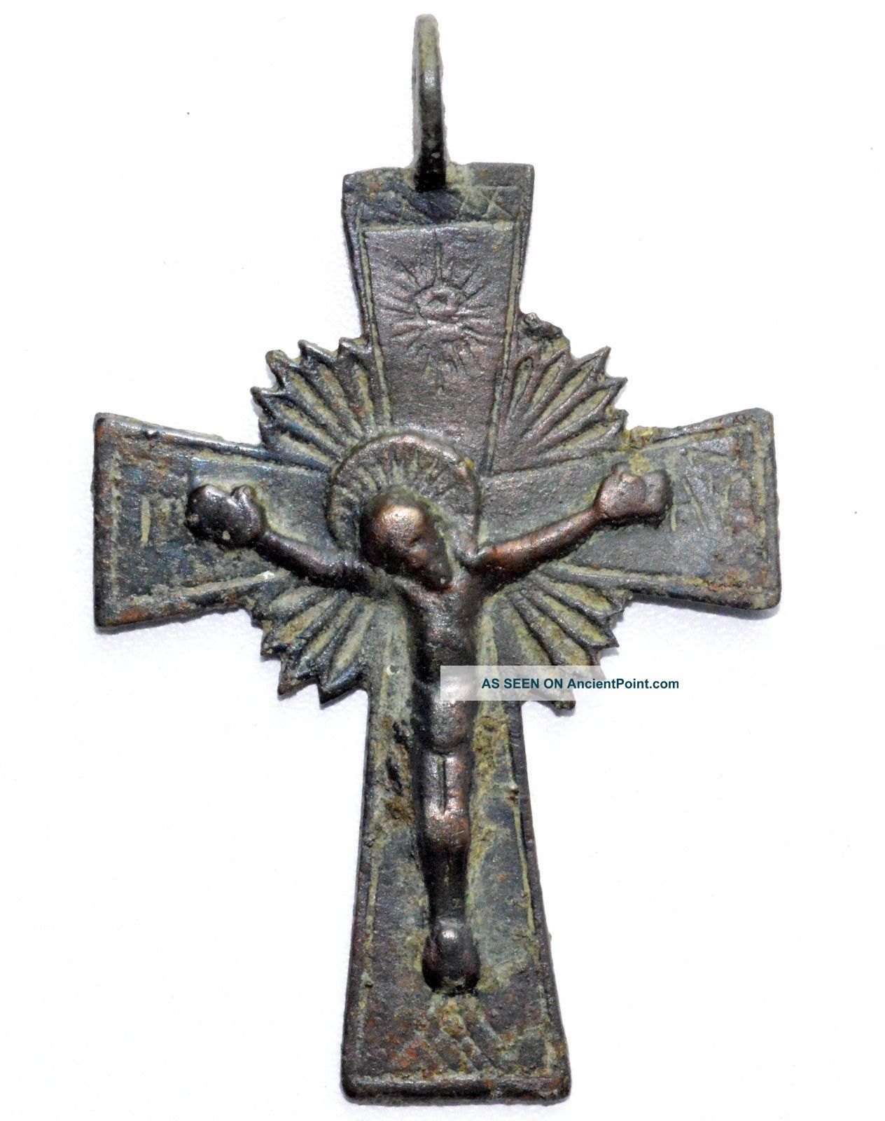 Lovely Medieval Bronze Cross Pendant W/ Crucified Jesus - Wearable Artifact St40 Roman photo
