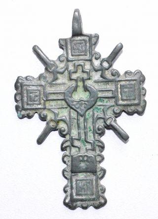 Late Medieval Bronze Enameled Radiate Cross Pendant - Wearable Artifact - St13 photo