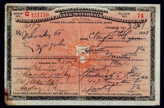 Prohibition Prescription Whiskey Antique 1925 Doctor Nurse Pharmacist Gift Pa Rx photo