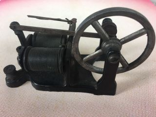 Small Antique Circa 1900 Miniature Cast Iron Electric Motor 4.  25