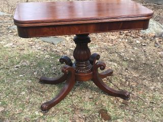 Antique Mahogany Duncan Phfife Style Game Table Console Table Carved photo
