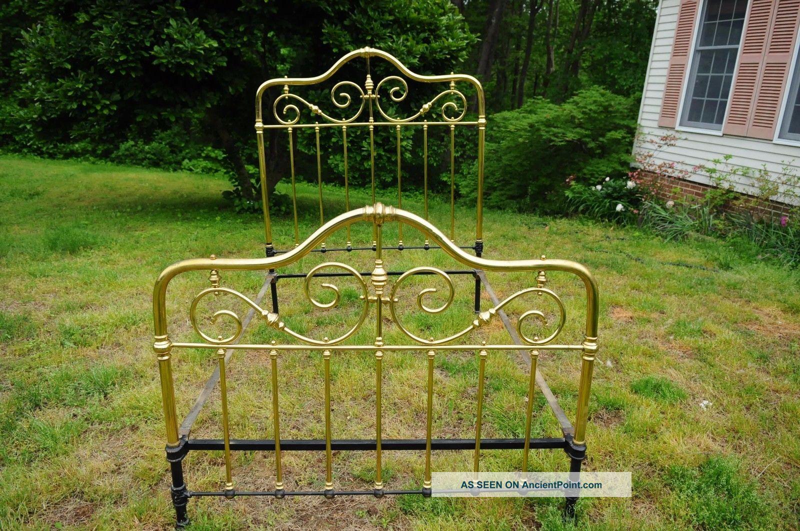 Vintage Brass Bed Frame Full Size Includes Side Rails 1900-1950 photo