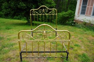 Vintage Brass Bed Frame Full Size Includes Side Rails photo