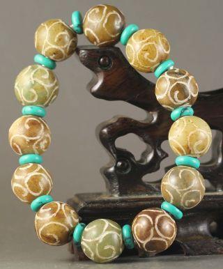 China Old Natural Jade Bangle Chinese Natural Jade Beads Bracelet photo
