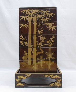 A704: High Class Japanese Old Tier Of Lacquered Boxes Jubako With Stand,  Nashiji photo