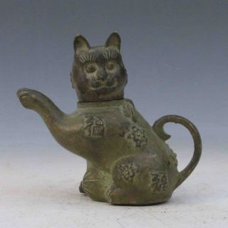 Chinese Antique Bronze Handwork Carved Cat Shape Teapot 1 photo