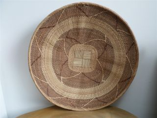 Vintage Woven Tribal,  Native Basket,  Tray,  African Binga,  Tonga Winnowing Basket photo