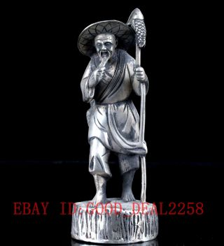 """Crusted Hand Carved Silve Copper """"fisherman"""" Statue Bt096 photo"""