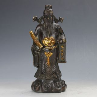 Chinese Brass Copper Gilt Handwork The God Of Fortune Statue - Lu God photo