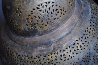 Giant Sized Early Islamic Moroccan Piercing Brass Lantern Approx 70cm photo