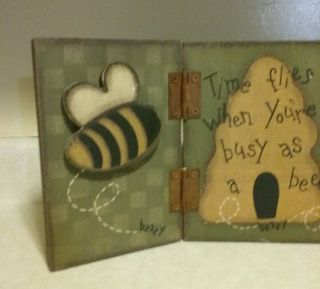 Primitive Wood Folk Art Bees/skep Shelf Sitter - Rustic Country Farmhouse Decor photo