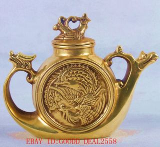 Chinese Brass Handwork Dragon & Phoenix Teapot W Qing Dynasty Mark Qt048 photo