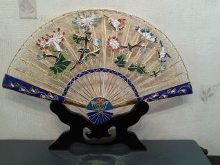 Vintage Chinese Solid Gilt Filigri & Cloisonne Enamel Flowered Fan With photo