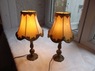 French Vintage A Charming Cute Bed Side Table Lamps Bronze And Shades photo