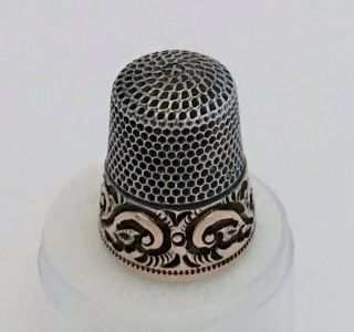 Antique Ketcham & Mcdougall 14k Gold Sterling Silver Thimble Size 9 Mono Melick photo