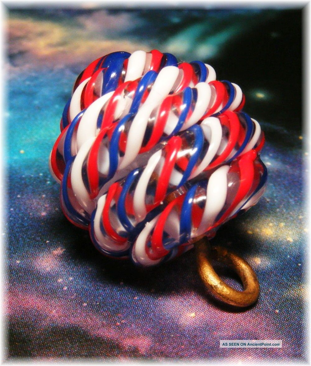 Vintage Paperweight Button Red,  White & Blue Twisting Cane Glass Button Buttons photo