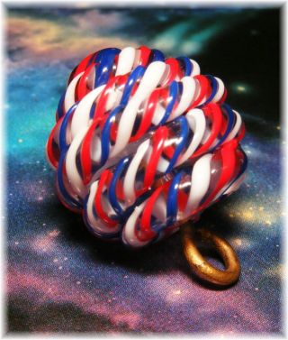 Vintage Paperweight Button Red,  White & Blue Twisting Cane Glass Button photo