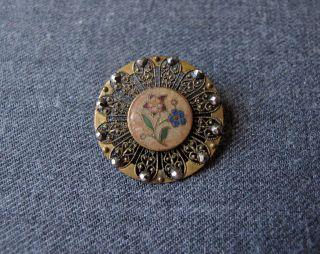 Antique Victorian Cut Steel Enamel Flowers Filigree Golden Metal Button 1inch 2 photo