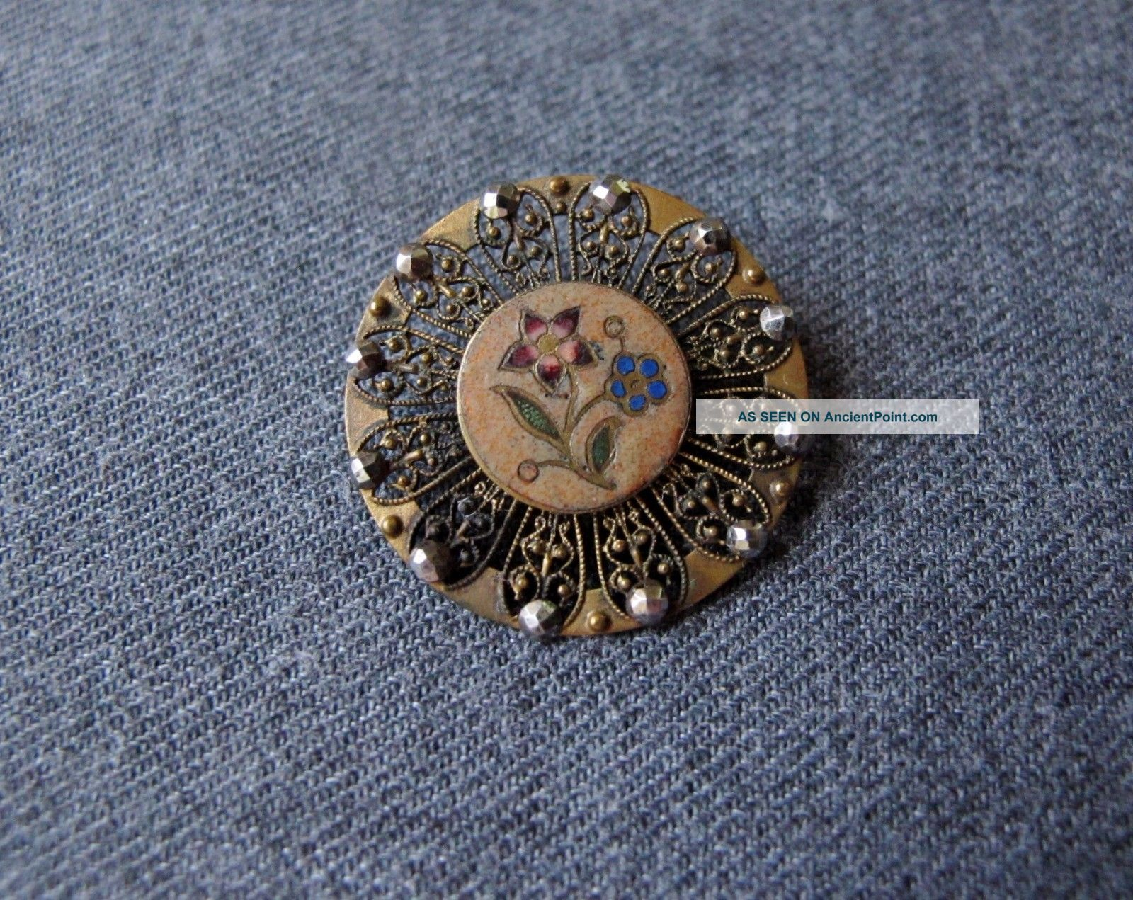 Antique Victorian Cut Steel Enamel Flowers Filigree Golden Metal Button 1inch 3 Buttons photo
