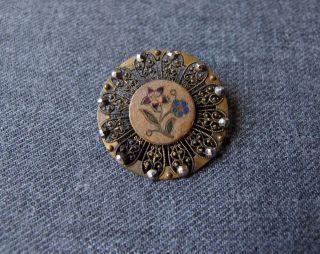 Antique Victorian Cut Steel Enamel Flowers Filigree Golden Metal Button 1inch 3 photo