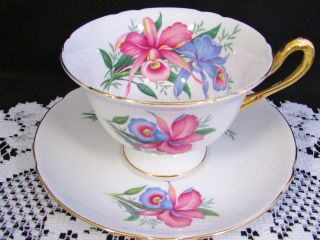 Shelley Pastel Blue Pink Iris Floral Gold Tea Cup And Saucer photo