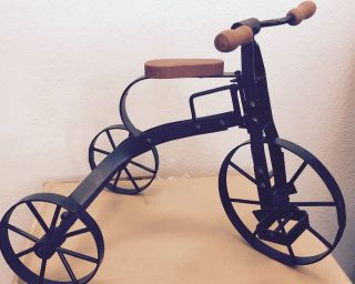 Vintage Miniature Iron Tricycle W/ Wooden Seat,  12