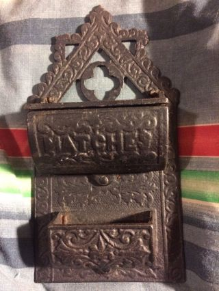 Ornate Brass Cast Iron Wall Mount Match Box Holder With Hinged Lid photo