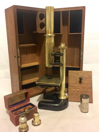Antique C.  Reichert Wien Brass Microscope From University Cambridge Box & Lenses photo