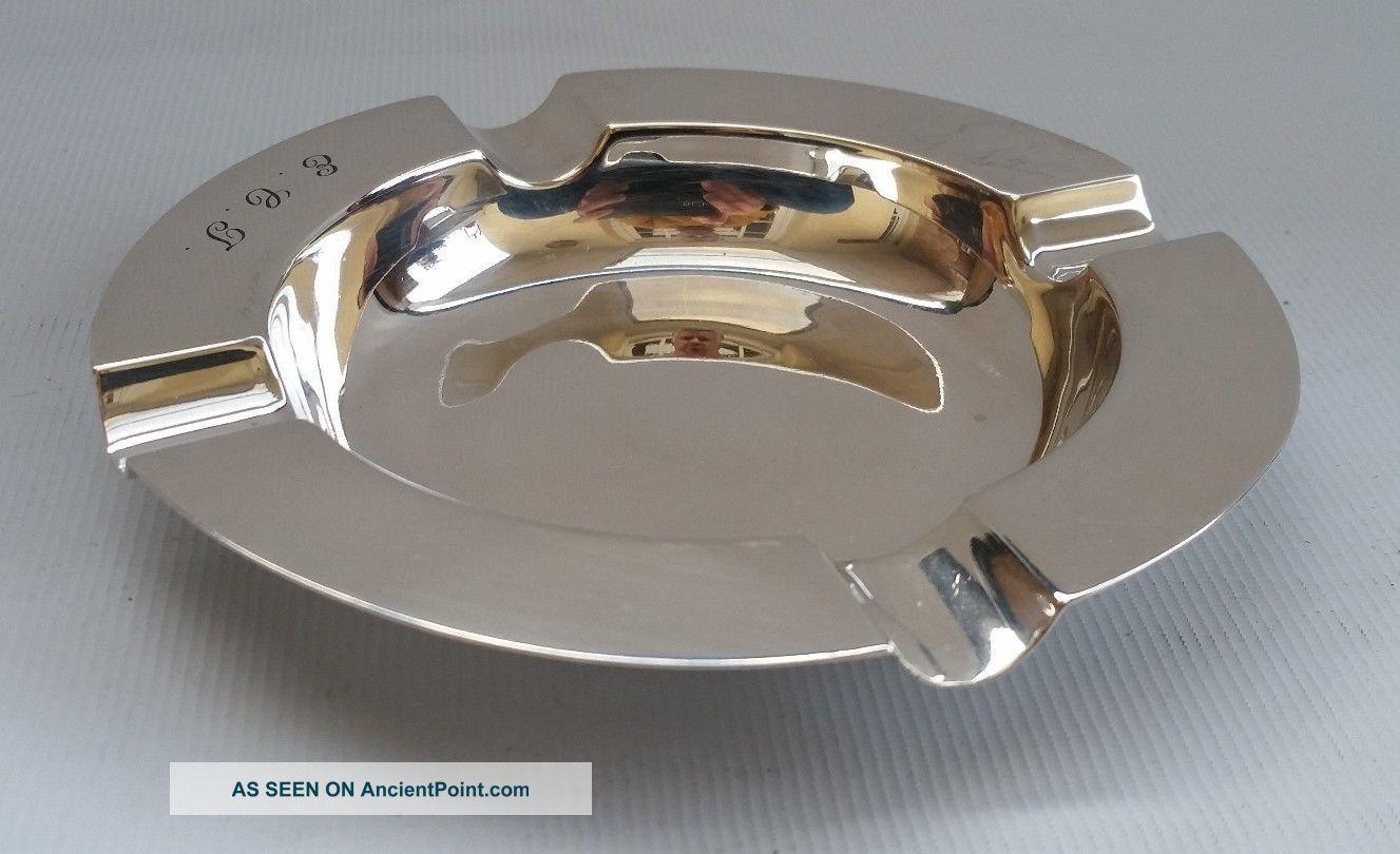 Vtg 1933 Art Deco Adie Bros Solid Sterling Silver Side Table Ash Tray Ecj 82g Ash Trays photo