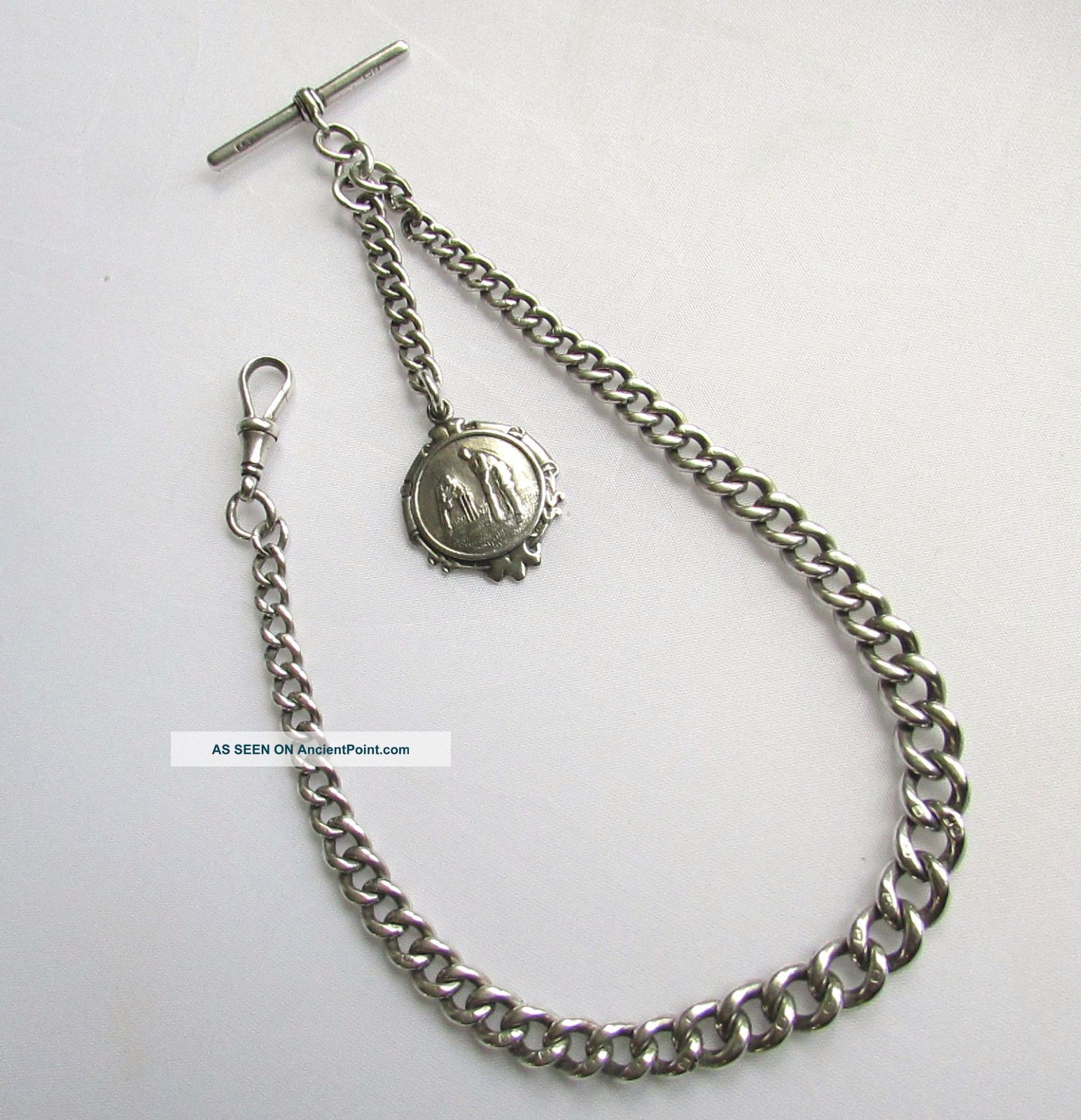 Old Antique Sterling Silver Albert Watch Chain & Cricket Fob 49 Grams Pocket Watches/Chains/Fobs photo