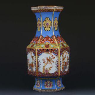 Chinese Cloisonne Handwork Paint Flowers & Birds Porcelain Vase W Yongzheng Mark photo