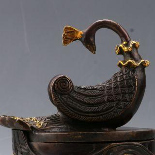Chinese Copper Gilt Handwork Incense Burner & Peacock Lid W Qianlong photo