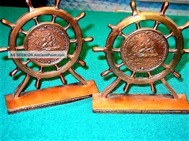 Uss Constitution Bookendsmade W/orig.  Coppersalvaged During1927 Restorationx - Cond Other Maritime Antiques photo
