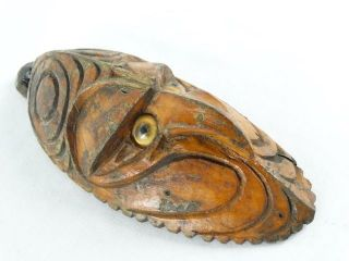 Vintage C1950 Sepik River Hand Carved Mask Operculum Eyes Papua Guinea photo
