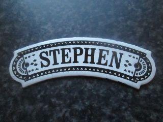 Vintage Dodo Designs (mfrs) Porcelain Enamel Name Plate - Stephen photo