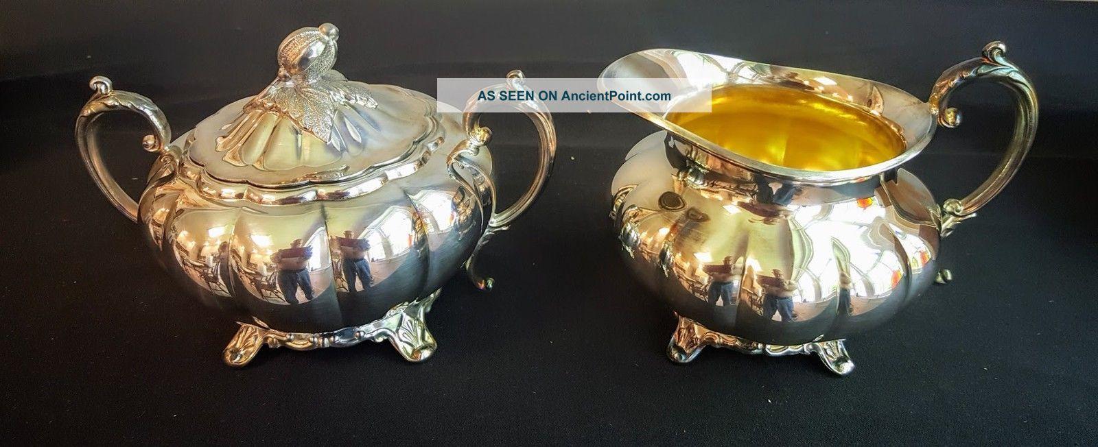 Creamer & Sugar Oneida Community Silver Sheffield Design Melon Shape Creamers & Sugar Bowls photo