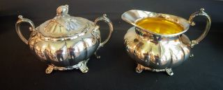 Creamer & Sugar Oneida Community Silver Sheffield Design Melon Shape photo