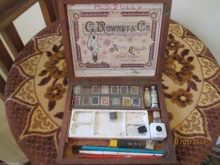 Antique Wood Box G Rowney & Company Ref 312 photo